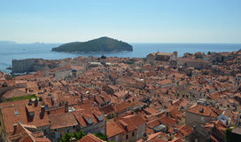 Dubrovnik old town roof tops and Lokrum island Royalty Free Stock Photography