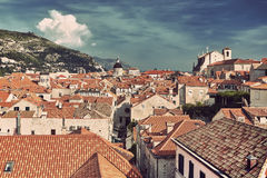 Dubrovnik Old Town roofs at sunset. Croatia Stock Image