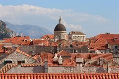Dubrovnik old town view from the city wall stock photo