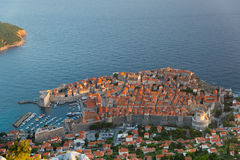 Dubrovnik old town. View of Dubrovnik old town, Croatia from Srd mountain during sunset Stock Image