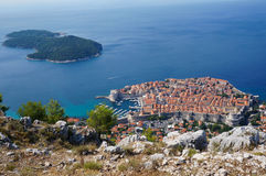 Dubrovnik Old Town. View of Dubrovnik Old Town and Lokrum Island from Mount Srd - travel background Royalty Free Stock Photo