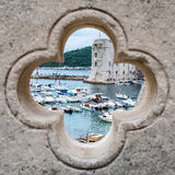 Dubrovnik Old Town (View). A view of Dubrovnik old town through a porthole Stock Image