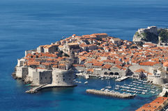 Dubrovnik old walled town harbour royalty free stock photo