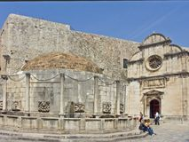 Great Onofrio fountain in Dubrovnik. Dubrovnik - Opposite the Church of the Redeemer, next to the Pile Gate, stands the magnificent Onofrio fountain, which was Royalty Free Stock Images