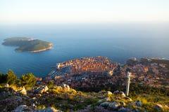 Dubrovnik Oud Stad en Lokrum-eiland Royalty-vrije Stock Foto