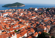 Dubrovnik panorama. This is a picture ot Dubrovnik red and orange roofs and distant island behind stock photography