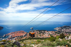 Dubrovnik panorama with cable car moving down Stock Photo