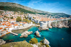 Dubrovnik panorama. Panorama of old town of Dubrovnik in Croatia stock image