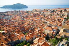 Dubrovnik panorama at sunrise, travel background Stock Photos