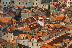 Dubrovnik panorama at sunrise, travel background Stock Photography