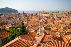 Dubrovnik panorama at sunrise, travel background Stock Images