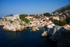 Dubrovnik panorama at sunrise, travel background Royalty Free Stock Photos