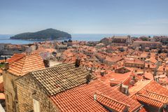 Dubrovnik. This photo shows a large part of the Old Town of Dubrovnik, Coratia Royalty Free Stock Images