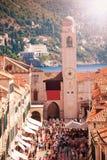 Dubrovnik, Plaza Luza Campanario de la ciudad Stock Photography