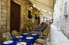 Dubrovnik. Restaurant on the Street Stock Photo