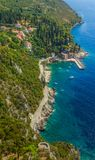 Dubrovnik riviera - Arboretum Trsteno. Helicopter aerial shot of beautiful small vilage and the oldest arboretum Trsteno near Dubrovnik, a location of filmng Royalty Free Stock Photography