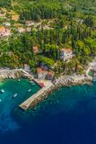 Dubrovnik riviera - Arboretum Trsteno. Helicopter aerial shot of beautiful small vilage and the oldest arboretum Trsteno near Dubrovnik, a location of filmng Stock Image