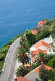 Dubrovnik road. Road to Dubrovnik and the ocean from a near hill Stock Image