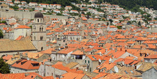 Dubrovnik roof tops. Bell tower and wall Royalty Free Stock Photography