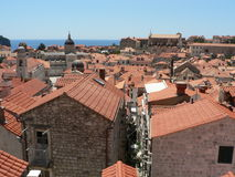 Dubrovnik Rooftops. A view across the rooftops of Dubrovnik in Croatia stock photo