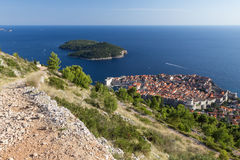 Dubrovnik's Old Town and Lokrum Island from above Royalty Free Stock Photo