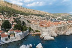 Dubrovnik scenic view on city walls Stock Images