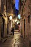 Dubrovnik side alley at night Royalty Free Stock Photography