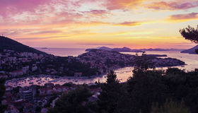 dubrovnik solnedgång Arkivbild