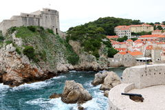 Dubrovnik and St Lawrence Fortress. Dubrovnik old town with Bokar Tower in the foreground, and St Lawrence Fortress in the background, Croatia Stock Image