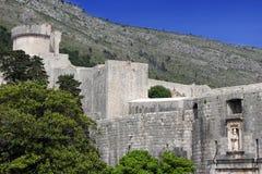Dubrovnik stadsväggar Arkivbilder