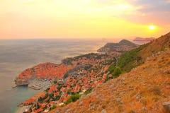 Dubrovnik stary miasteczko przy zmierzchem Obraz Royalty Free