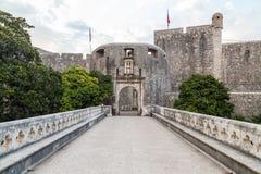 Dubrovnik stosu brama w ranku fotografia stock