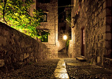 Dubrovnik-Straße nachts stockfotografie
