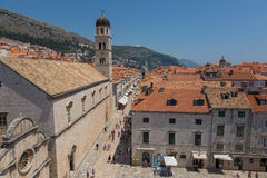 Dubrovnik stradun. Stradun is the main street of Dubrovnik, Croatia. Dubrovnik is a city in Croatia by the Adriatic Sea. It`s known for its distinctive Old Town Royalty Free Stock Images