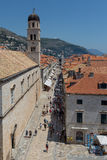 Dubrovnik stradun. Stradun is the main street of Dubrovnik, Croatia. Dubrovnik is a city in Croatia by the Adriatic Sea. It`s known for its distinctive Old Town Royalty Free Stock Image