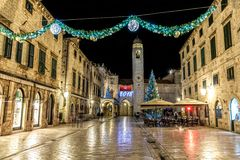 Dubrovnik Stradun New Year decoration Royalty Free Stock Photos