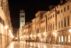Dubrovnik - Stradun by night Royalty Free Stock Photos