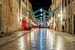 Dubrovnik Stradun in the night - long exposure Stock Image