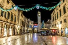 Dubrovnik Stradun nowego roku dekoracja Zdjęcia Royalty Free