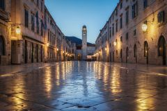 Dubrovnik Stradun in twilight, Dalmatia, Croatia. Classic panoramic view of famous Stradun, the main street of the old town of Dubrovnik, in beautiful morning stock images
