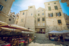 Dubrovnik street cafes at main square Royalty Free Stock Photos