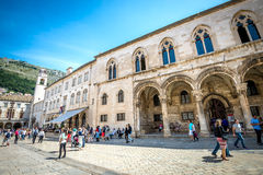 Dubrovnik street life, Croatia. DUBROVNIK, CROATIA - MAY 03, 2015: Scene of the main street and other narrow streets, with locals and tourists, in Dubrovnik Royalty Free Stock Image