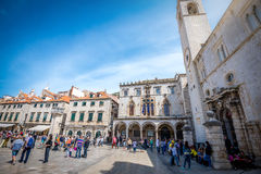 Dubrovnik street life, Croatia. DUBROVNIK, CROATIA - MAY 03, 2015: Scene of the main street and other narrow streets, with locals and tourists, in Dubrovnik Royalty Free Stock Photo