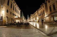 Dubrovnik street at night. Old street with cafe in Dubrovnik at night (Croatia Royalty Free Stock Photos
