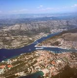 Dubrovnik. Sunny day from plane in Dubrovnik Croatia Royalty Free Stock Image