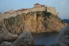 Dubrovnik Sunset. The sun sets on one of the outer walls of Dubrovnik, Croatia Royalty Free Stock Image