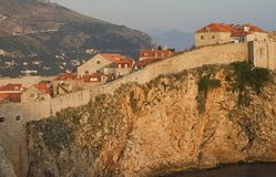 Dubrovnik at Sunset. The outer wall of Dubrovnik, Croatia at sunset Royalty Free Stock Photo
