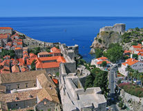 Dubrovnik from tower. View of Dubrovnik from tower on wall Royalty Free Stock Photography