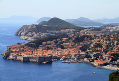 Dubrovnik town. Town of Dubrovnik in the background of mountains Royalty Free Stock Image