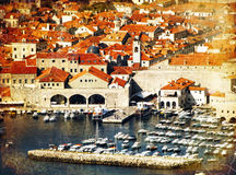 Dubrovnik town vintage postcard Stock Photos